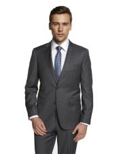 Single Breasted Notch Lapel Solid Medium Grey Suit