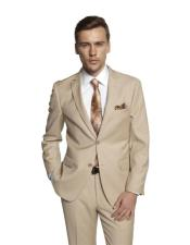 Single Breasted Notch Lapel Solid Beige Suit