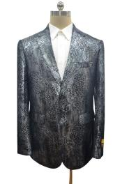 dark silver two button Ostrich looking alligator print coat