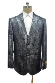 breasted peak lapel alligator skin Ostrich looking jacket