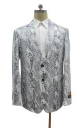 breasted peak lapel Ostrich looking alligator coat white