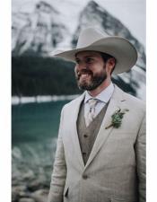 Grey Button Closure Cowboy Wedding Suit
