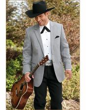 Grey One Chest Pocket Cowboy Wedding Suit