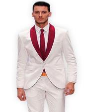 Burgundy Shawl Lapel Tuxedo Suit