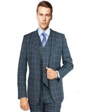 Suit Charcoal Burgundy Windowpane