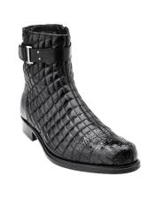 Libero Mens Black Alligator Trim Quilt Boots