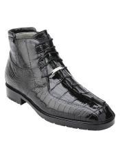 Mens Black Hornback Crocodile Ostrich Boots Barone