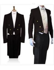 With Brass Gold Buttons Super 150S Peak Tailcoat Tuxedo