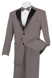 2 Piece Linen Causal Outfits Fabric Tuxedo Light Grey