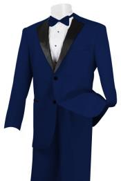 2 Piece Linen Causal Outfits Fabric Tuxedo Navy /