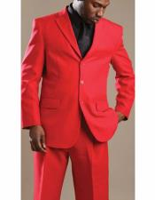 Lucci Suit Single Breasted Red Blazer Notch Lapel