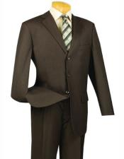 Lucci Suit Single Breasted Blazer Notch Lapel Brown