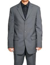 Lucci Suit Single Breasted Blazer Notch Lapel Gray