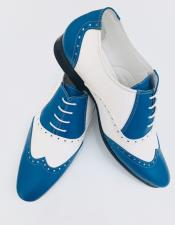 Mens Sky Blue Leather Wing Tip