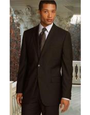 Brown Pinstriped Notch Lapel Classic Relax