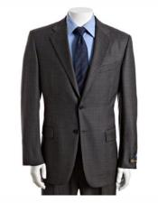 Grey 100% Wool Notch Lapel One