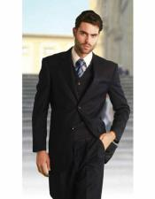 Athletic Cut Solid Navy Classic Suits Relax Fit Pleated
