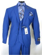 fit Vested 3 Piece Suit Royal Blue Suit For