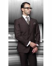 Athletic Cut Classic Solid Brown Suits Relax Fit Pleated