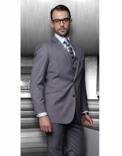 Athletic Cut Classic Polyster Fabric Dress Slacks Charcoal Suits