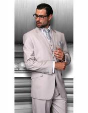 Cut Classic Mens Solid Sand Suits Relax Fit Pleated