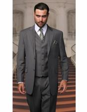 Cut Mens Classic Oxford Gray Suits Relax Fit Pleated