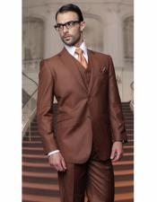 Cut Classic Copper Mens Suits Relax Fit Pleated Pants