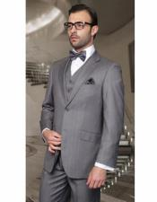 Cut Classic Suits Mens Gray Relax Fit Pleated Pants