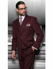 Classic Fit Suit Mens Burgundy Two