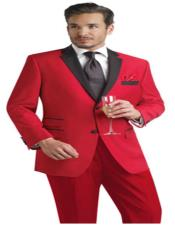 Single Breasted Notch Lapel Red Color Two Button Suit