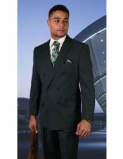 Hunter Green Double Breasted Suit for Men Peak lapel