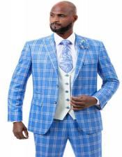 J Samuel Mens Blue Plaid Wide Leg Vested Suit
