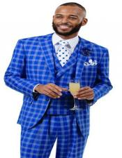 J Samuel Mens Royal Plaid Wide Leg Vested Suit