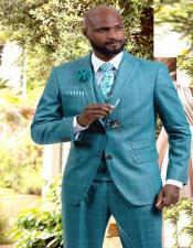 J Samuel Mens Hunter Plaid Wide Leg Vested Suit