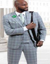 J Samuel Mens Charcoal Plaid Wide Leg Vested Suit
