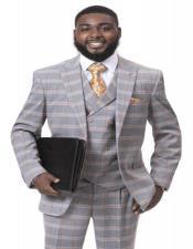 J Samuel Mens Grey Plaid Wide Leg Vested Suit