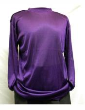 Mock Neck Shirts For Men Purple