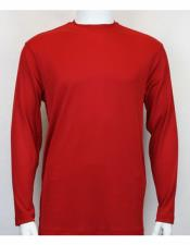 Mock Neck Shirts Red For Men