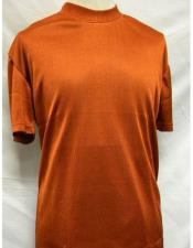 Mens Mock Neck Shirts Rust