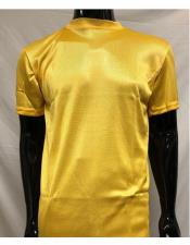 Mock Neck Shirts For Men Gold