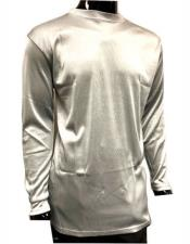 Mock Neck Shirts For Men Silver