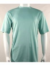 Neck Shirts For Men Sea Green