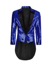 Mens Single Breasted Blue Blazer Long