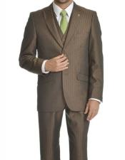 Brown Single Breasted Peak Lapel Suit Suit