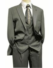 Mens Peak Lapel Gray ~ White