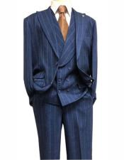Dark Navy Single Breasted Suit Peak Lapel Two Button