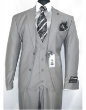 Single Breasted Gray Notch Lapel Two Button