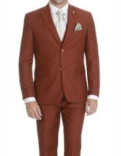 Rust Single Breasted Two Button Suit