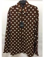 Pronti Fashion Poker/ Polka Dot Long Sleeves Shirts Burgundy