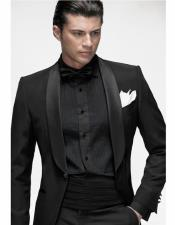 Front Pockets Black Suit With Black Shirt & Bowtie